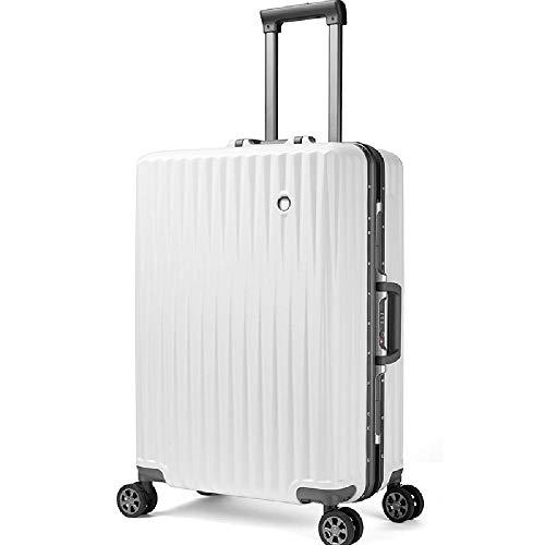 HANQING Fashion aluminum frame trolley suitcase travel suitcase men and women cabin,White-56 cm x 36 cm x 24 cm