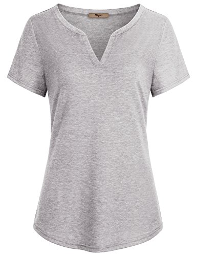 Shirts for Women,Miusey Ladies Split V Neckline Short Sleeve Casual Lightweight Henley Tunic Blouses Curved Flattering Neckline Elastic Cozy Tops Gym Activewear Tennis Top Gray Gray M