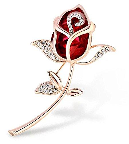 WayOuter Gemas Artificiales con Diamantes de Imitación chapado en oro Rose Broche para Mujeres Regalos Accesorios de vestir (Rojo)