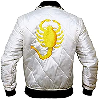 The Jasperz Mens Drive Scorpian Slim Fitted Satin Ryan Gosling Bomber Wite Satin Biker Jacket