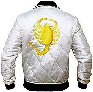 The Jasperz Mens Drive Scorpian Slim Fitted Satin Ryan Gosling Bomber Wite Satin Biker Jacket