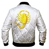 Mens Drive Scorpian Slim Fitted Satin Ryan Gosling Bomber Wite Satin Biker Jacket (X-Large (44-46) Best For Chest Size, Blanco)