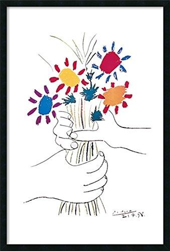 Framed Wall Art Print | Home Wall Decor Art Prints | Hands with Bouquet (Fleurs et Mains) by Pablo Picasso | Modern Decor Framed Art Print 25.25 x 37.25 in.