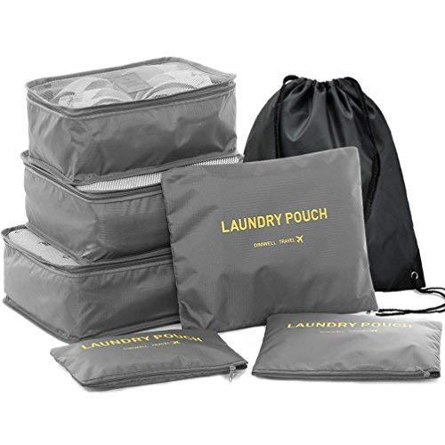 HiDay Vario 7 Set Sistema di Cubo di Viaggio - 3 Cubi di Imballaggio + 3 Sacchetti + 1 Coulisse Zaino Borsa - Perfetto di Viaggio Dei Bagagli Organizzatore