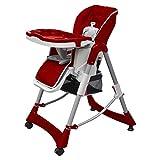 Silla alta de bebé, cojin acolchado, cinturón, mesa con bandeja extraíble - altura ajustable y plegable-burdeos