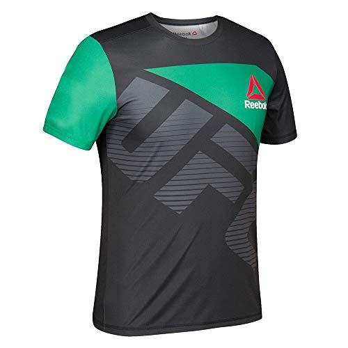 adidas Reebok UFC - Camiseta oficial de la BBG (negro/verde), M, Negro
