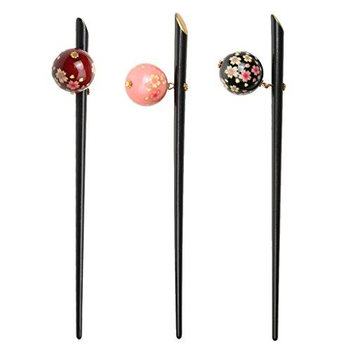 Gazechimp 3pcs Épingle/Pin à Cheveux Chignon Élégant Cosplay avec Fleur de Sakura Ballon
