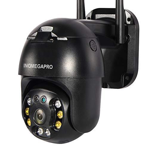 PTZ IP Dome Telecamera di Sorveglianza, INQMEGAPRO 1080P WLAN & LAN Videocamera Esterno con IP65 Impermeabile, Audio bidirezionale, Colorato Visione Notturna, Tracciamento automatico(Nero)