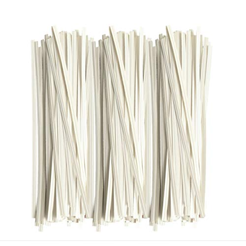 TWIES 5 Inch Paper Twist Ties 200 Pcs | Reusable Bread Ties for Party Cello Candy Coffee Treat Bags Cake Pops - White