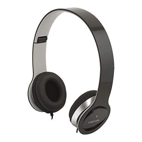 LogiLink HS0028 Stereo High Quality Headset mit Mikrofon, hohem Tragekomfort und verstellbaren + klappbaren Bügeln, Schwarz