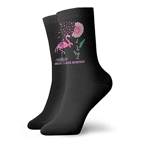 Faith Hope Love Flamingo Rosa Cáncer de Mama Calcetines de Tobillo para Hombres Mujeres Divertidos Calcetines de Compresión Atlética Calcetines ⭐