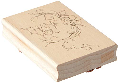 Inkadinkado Flourish Wood Stamp for Thank You Cards, 1 Piece 2.75'' W x 4'' L