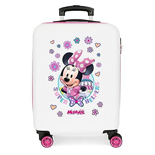 Disney Minnie Super Helpers Maleta de cabina Blanco 38x55x20 cms Rígida ABS Cierre de combinación lateral 35 2 kgs 4 Ruedas dobles Equipaje de Mano