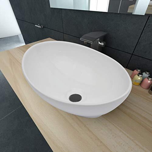 Lechnical Luxus Keramik Waschbecken Oval Weiß Waschtisch Aufsatz-Waschschale Aufsatzwaschbecken Handwaschbecken 40 x 33 cm
