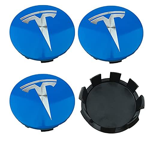 4pcs 58mm Cubiertas tapacubos de rueda de coche, por Tesla Model S 3 X Y (azul plata) Roadster accesorios tapa Centro de Llantas AutoTyre Decoración Hub