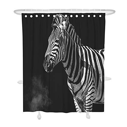 DOTBUY Duschvorhang 100prozent Polyester Bad Vorhang Wasserdicht Anti-Schimmel Anti-Bakteriell 3D Modern Stadt Drucken mit C-Form 12 Ringe Kunststoff Haken für Badzimmer (Zebra,120x180cm)