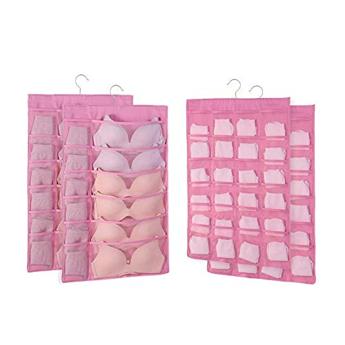 Wgniip Dual Sided Closet Hanging Organizer with Mesh Pockets, 2 Pack Hanging Pockets Wall Shelf Wardrobe Storage Bags Oxford Cloth Space Saver Bag for Bra Underwear Underpants Socks - Rose Red