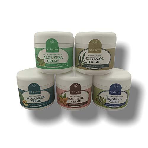 5 tlg. Beauty Jojobaöl | Mandelöl | Avocadoöl | Olivenöl | Aloe Vera Öl Creme | Körpercreme | Gesichtscreme | Pflege-Set