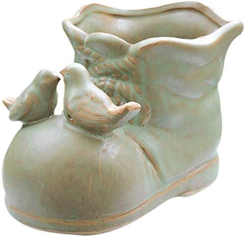 Bcaer Personalidad Creativa Cerámica Grande Caliber Flower Pot Shoe Bird Flower Pot Desktop Flower Pot Zapatos de cuero Maceta Interior y Exterior Decoración y drenaje Agujeros de plantas suculentas