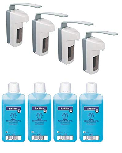 4 x Medi-Inn Wandspender Eurospender Kunststoff 500 ml langer Armhebel + 4 x Bode   Hartmann Sterillium Händedesinfektion 500 ml