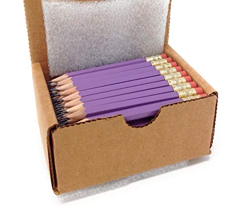 Half Pencils with Eraser - Golf, Classroom, Pew, Pocket -#2 Hexagon, Sharpened, (Box of 48). Color Choice:(lavender)