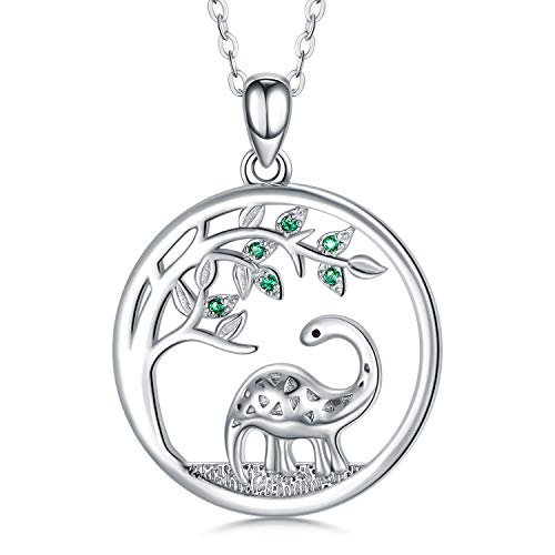 Dinosaur Necklace for Women 925 Sterling Silver Brontosaurus Pendant Necklace Animal Jewellery Gifts for Girlfriend, 18''+2'' Chain with Gift Box