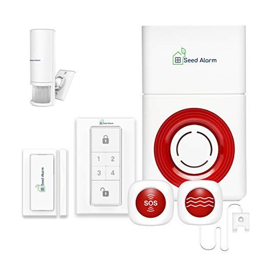 SeedAlarm 2 in 1 Timbre Inalámbrico Exterior Impermeable + Kit Sistema de Alarma de Llamadas de Buscapersonas para Cuidadores Botones de SOS Llamada Transmisores Receptores de Sirena con Bater