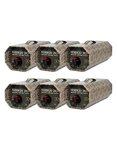 Cuatro Rayas Vino Blanco Verdejo en Bag in Box Octogonal - 6 Bag in Box de 2 L (12 l)