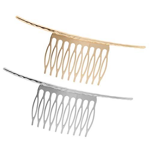 SM SunniMix 2 Stück Hochzeit Blank Metal Hair Comb Slide 10 Zahn Clips Haarschmuck Gold Silber