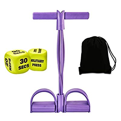 IStepFirst Pedal Resistance Band Fitness Equipment - Elastic Pedal Resistance Multifunction Band Pull Rope with 4-Tubes for Women Men Full Body Workout Exercise Dices Training Waterproof Carry Bag