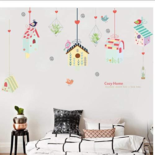 JHLP Kleurrijke vogelhuisje, polygon muurstickers voor woonkamer, kinderkamer, slaapkamer, kinderkamer, vinyl, wandtattoos, wandschilderingen, doe-het-zelf stickers