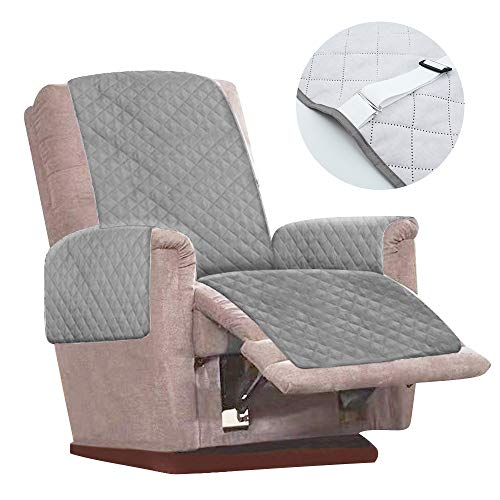 Recliner Chair Cover Mat with 2 White Tightening Straps and Adjustable Buckles Anti Slip Reversible Quilted Protective Armchair Sofa Cushion Furniture Protector Free From Any Stains or Pet Fur (Grey)
