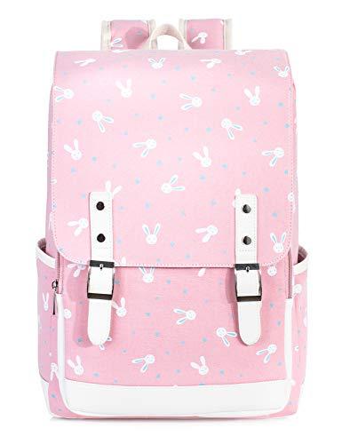 Leaper Cute Bunny Backpack Laptop Backpack Rabbit Bag School Bag Satchel Pink L