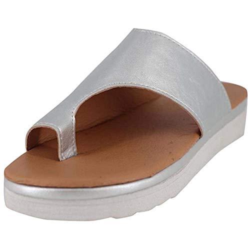 Sandalias Mujer Sandalias con Meseta Zapatos Cómodos para La Playa Sandalias de Verano Alpargatas Elegantes para Mujeres con Sandalias de Punta Abierta Mujeres Plataforma Cuña Mujer,Plata,38