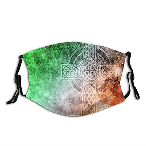 Ireland Irish Celtic Cross Face Mask,Reusable Protective Adjustable Scarf Washable Bandana With 2 Filters