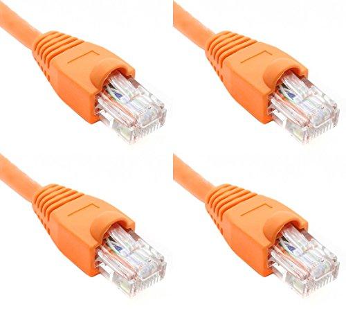 Ultra Spec Kabels Pack van 4 - Oranje 2FT Cat6 Ethernet Netwerk Kabel Lan Internet Patchkabel RJ45 Gigabit