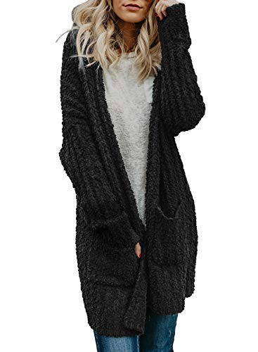 Asvivid Women's Long Sleeve Soft Chunky Knit Sweater Open Front Cardigan Outwear with Pockets Black