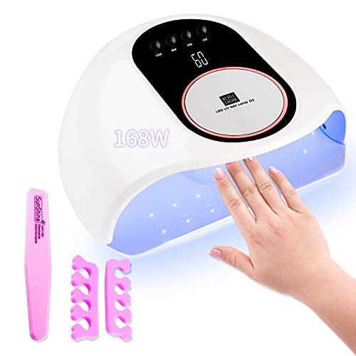 RaMokey Lampara LED Uñas, 168W Secador de Uñas LED UV Lampara Uñas Gel Semipermanentes Maquina Uñas Luz Lamp con Sensor Automatico, Con 4 Temporizadores para Manicura/Pedicure Nail Art