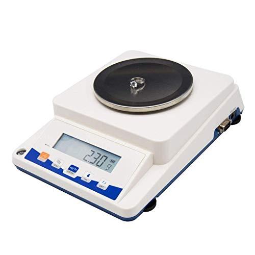 Básculas electrónicas, (3100g * 0.1g) Balanza analítica de precisión Básculas de laboratorio Plato de pesaje de acero inoxidable LCD retroiluminado AC y DC alimentado por (blanco) (Tamaño: 110g / 0