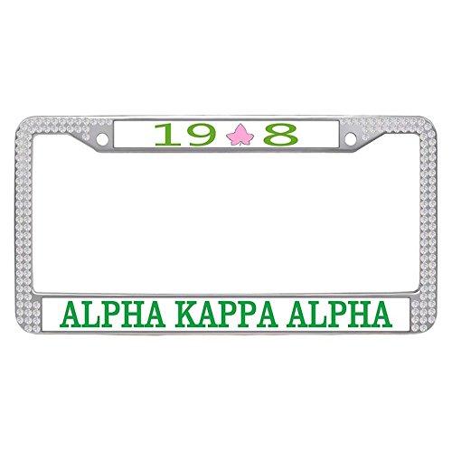 Alpha Kappa Alpha License Plate Frame, Custom AKA Sorority Car License Plate Covers for Women, aka-31, White Rhinestone