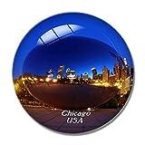 USA America Cloud Gate﹜Millennium Park Chicago 3D Fridge Refrigerator Magnet Whiteboard Magnet Souvenir Crystal Glass