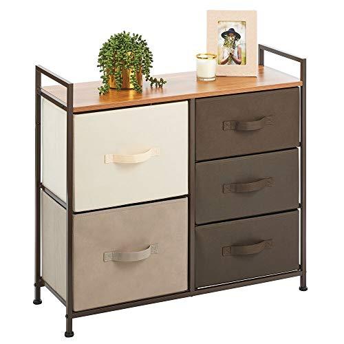 mDesign Kommode mit 5 Schubladen – breiter Schubladenschrank für Schlafzimmer, Wohnzimmer oder Flur – Kleiderkommode aus Metall, MDF und Stoff – dunkelbraun/bunt