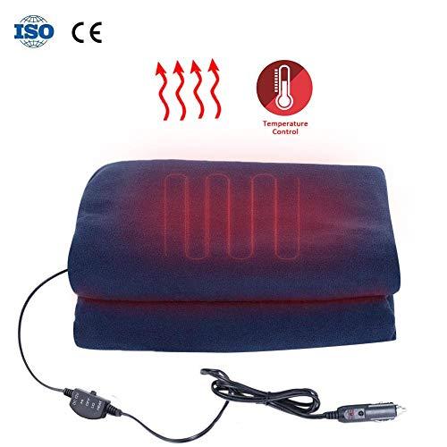 Couverture chauffante de voiture 12v Couverture chauffante Couverture chauffée de voyage chauffante Couverture électrique à 3 niveaux de température réglable pour voiture pour la voiture Camions ou VR