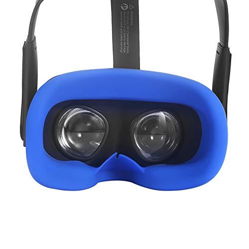 Esimen Silicone Cover & Eye Pad for Oculus Quest Eye Cushion Cover Sweatproof Lightproof (Blue)