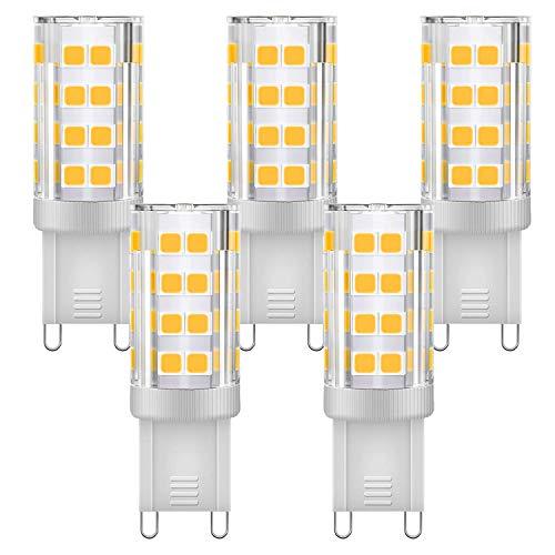 KINDEEP G9 LED Bulb Dimmable 4W, 40W Equivalent, 400LM Warm White 3000K, AC 110V 120V, G9 Ceramic Base No-Flicker, 360 Degree Beam Angle for Chandelier Lighting 400LM(5 Pack)