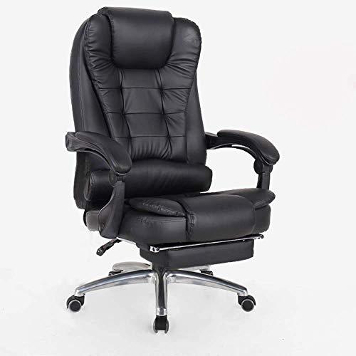DHTOMC Silla de ordenador ergonómica, silla de oficina reclinable de piel con reposapiés, silla de oficina con respaldo alto, silla giratoria ajustable con reposapiés retráctil, color negro