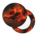 Deaowangluo Fire Rooster Bar Stool Slipcovers Set of 2, Anti-Slip Padded Washable Elastic Round Seat Cover 12 inch
