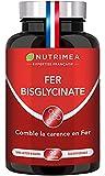 FER bisglycinate + Vitamine C - 14 mg de Fer/gélule - 100% des besoins - Absorption et biodisponibilité maximales - Cure 3 mois - 90 gélules vegan - Nutrimea - Fabriqué en France