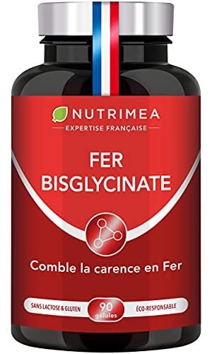 FER Bisglycinate + Vitamine C - 14 mg de Fer/Gélule - Procure 100% des Besoins Journaliers - Absorption & Biodisponibilité Maximales - Nutrimea - 90 Gélules Vegan - Fabriqué en France