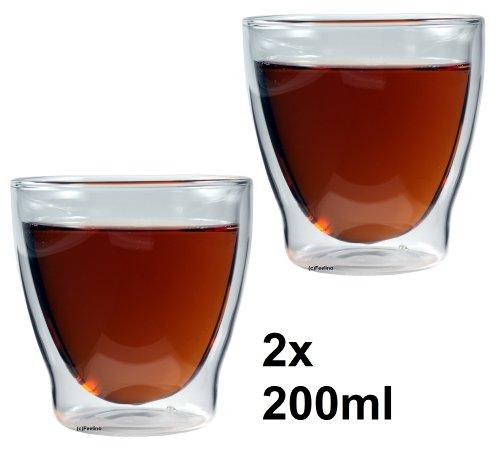 2x 200ml doppelwandige Eisschale, Kaffeeglas & Teeglas, edle Vorspeisegläser, Thermogläser mit Schwebeeffekt